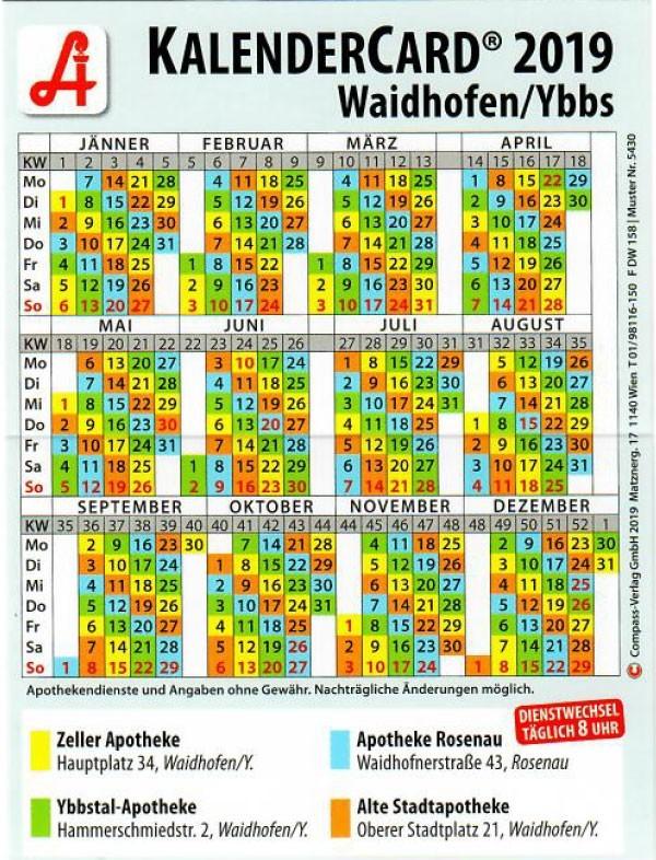 Kalendercard 2019